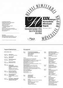 Hetyei Nemzetközi Művészeti Napok / Internationale Kunsttage in Hetye / Days of The International Arts at Hetye